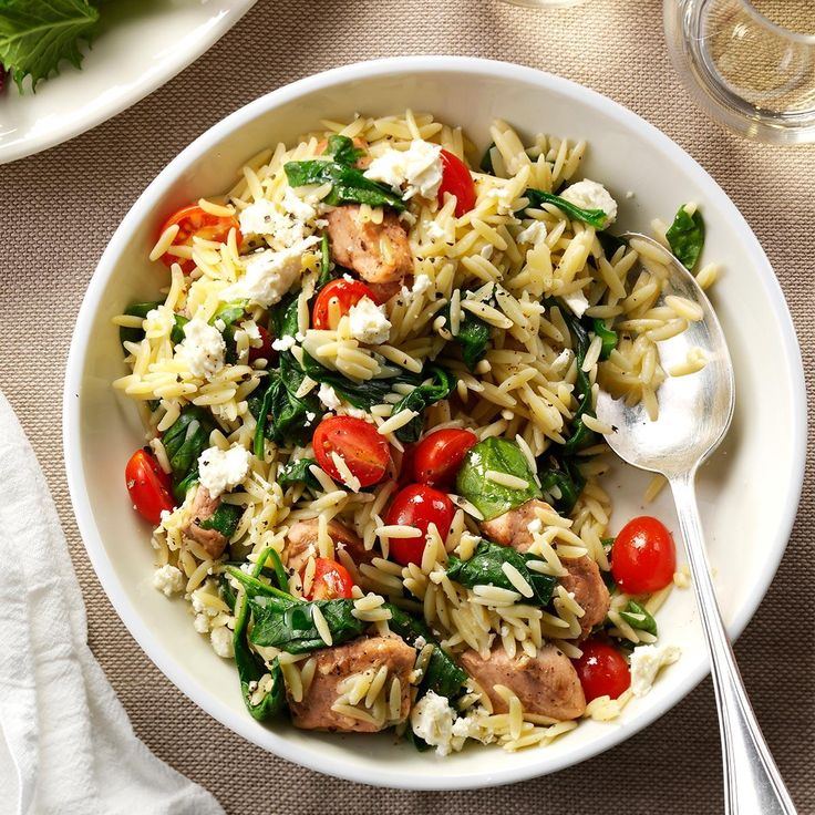 Mediterranean Pork and Orzo Recipe -On a really busy day, this meal-in-a-bowl is one of my top picks. It's quick to put together, leaving a lot more time to relax at the table. —Mary Relyea, Canastota, New York