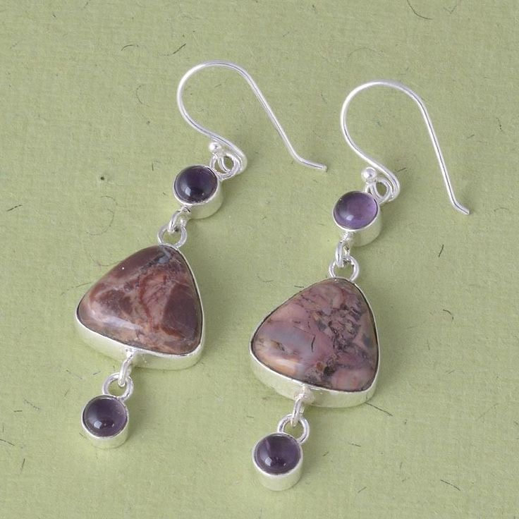 SOLID 925 STERLING SILVER PETRIFIED WOOD EARRING 7.38g DJER1912 #Handmade #EARRING