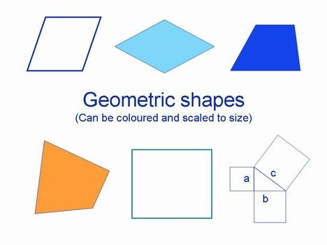 Here is a range of geometric shapes.  They include a Parallelogram, Rhomboid (Rhombus or Diamond shape), Irregular Quadrilateral, Square, Rectangle and an example of Pythagoras Theorem.