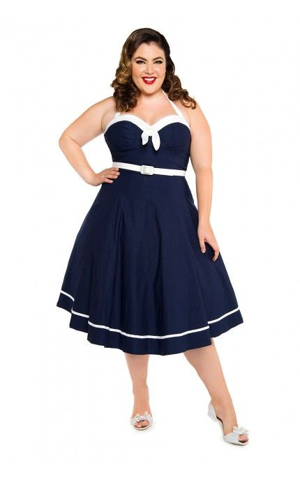 Pinup Couture - Sailor Swing Dress in Navy - Plus Size | Pinup Girl Clothing