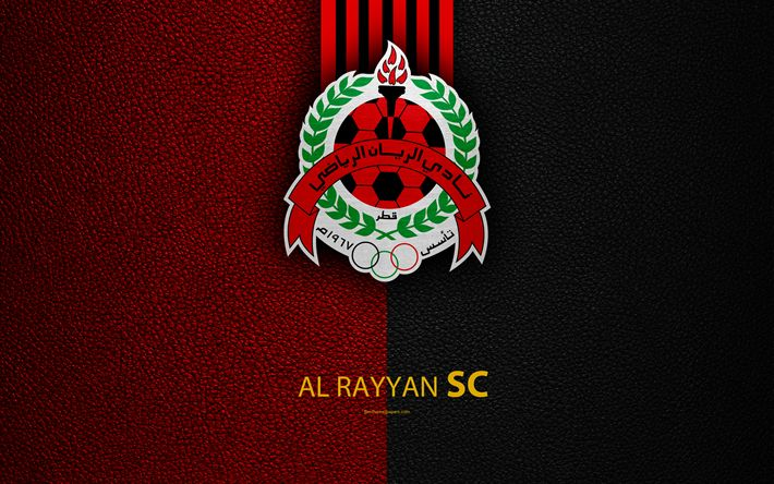 Download wallpapers Al Rayyan SC, 4k, Qatar football club, leather texture, Al Rayyan logo, Qatar Stars League, Al Sad, Riyan, Qatar, Premier League, Q-League