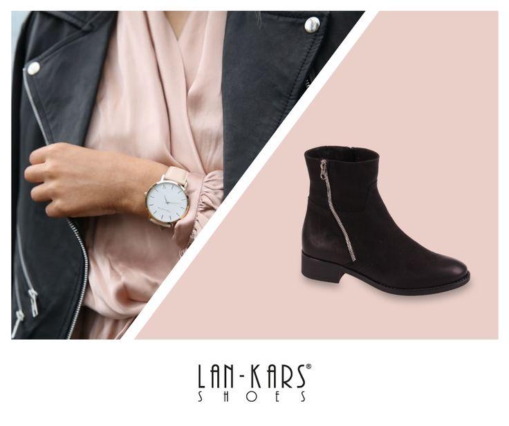 Kobiece botki ze skośnym suwakiem.  #lankars #shoes #black #leather #woman #feminine #fashion #zip #pink #layout #classic