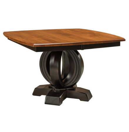 Amish Saratoga Single Pedestal Table  Bay Ridge Collection  The Amish Saratoga Single Pedestal Table is one your friends and family are sure to admire. Our talented Amish craftsmen sculpt and shape this to create an eye-catching look.