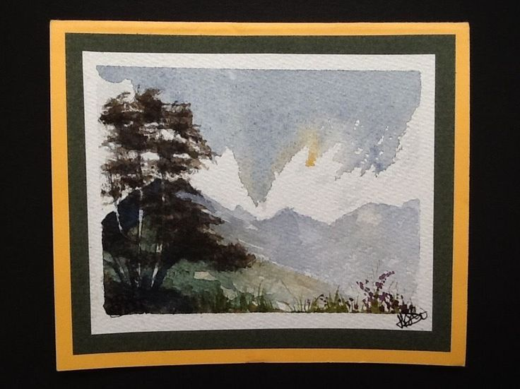 Genuine origional watercolour painting by H. JOSÉ, hills mountains trees scenery