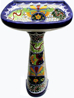 Hand Painted Mexican Ceramic Talavera Pedestal Sink - from Rustica House
