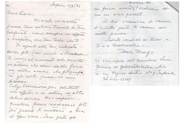 1993 Lettera Rina Drago collezionista