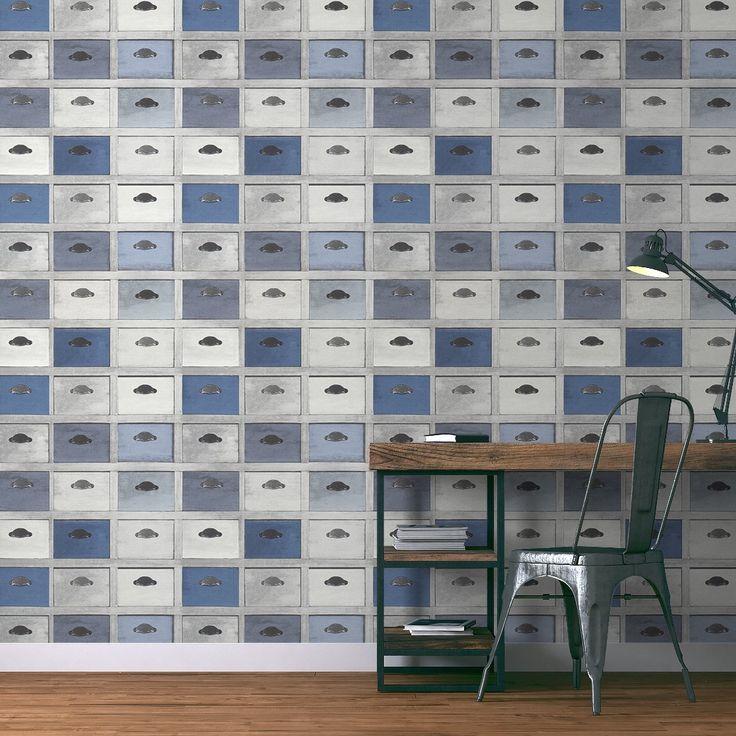 simple papier peint lucian vinyle sur intiss imitation tiroirs bleu et gris peinture et with. Black Bedroom Furniture Sets. Home Design Ideas