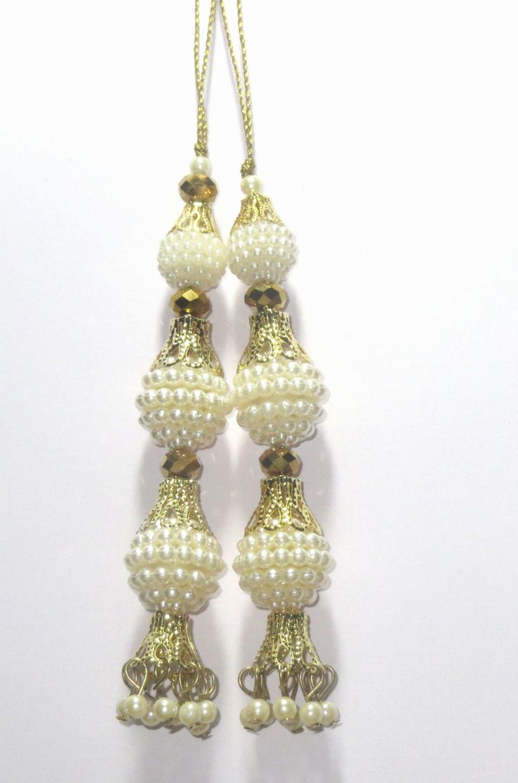 White pearl Handcrafted ethnic Glass Bead Tassel / Embellishment / Decoration / Saari Tassels / Curtain Tassels  Latkan Supply 1 pair India by CRAFTYJAIPUR on Etsy