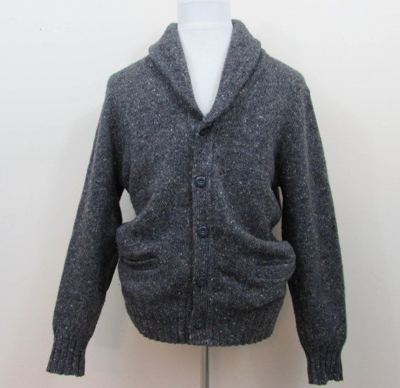 Vintage 1950s-60s Mans Cardigan Sweater in a Grey tweed with fold over collar and suede elbow patches. Front gray buttons  Label: Winona Knits