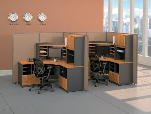 modular office furniture set 2 series a natural cherry collection bush office furniture - Bush Office Furniture