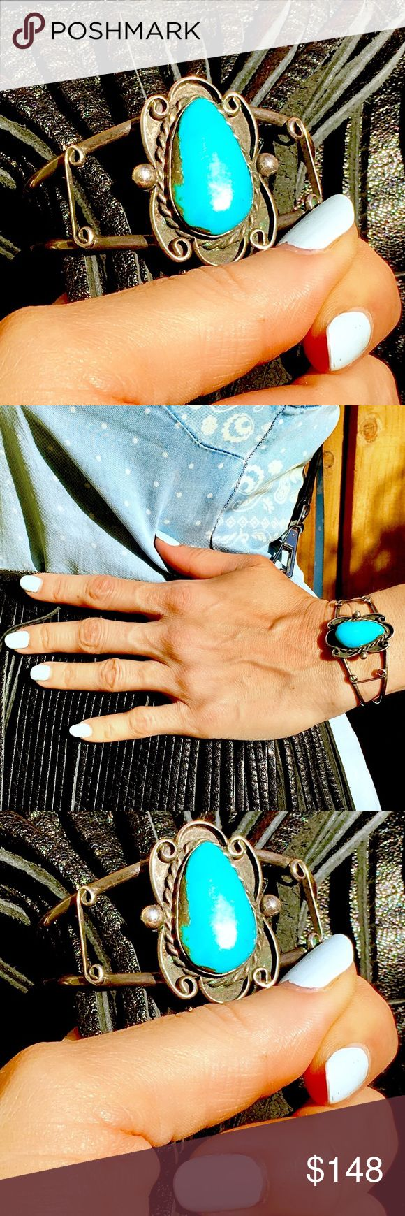 TRUE VINTAGE DEAD PAWN STERLING TURQUOISE CUFF! Sale $ firm.Here She Is,Lovely BoHo Hip~As~All~Getup~Posh~Ladies!Remarkable,Rich,Raw,& True,DEEP Vintage for Ya!🦋This LARGE Turquoise Chunk is INCREDIBLE & it takes A Long,LONG Time 2 Marinate in order 2 Create a MASTERPIECE such as This BEAUTY! Yes,Time=The Ingredient.Much Time Must Pass,with *Loving Preservation* 2 Create This GORGEOUS,MOUTHWATERINGLY RICH & NATURAL AGED PATINA!Add RARE,No Longer Mined,SHOCKINGLY VIVID SLEEPING BEAUTY…