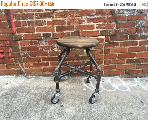 10% OFF Bar Stool, Industrial Stool,  Work Stool, Pipe Stool, Man Cave, Industrial Decor, Pipe Decor, Garage, Industrial Furniture, Pipe Fur by TheCleverRaven on Etsy