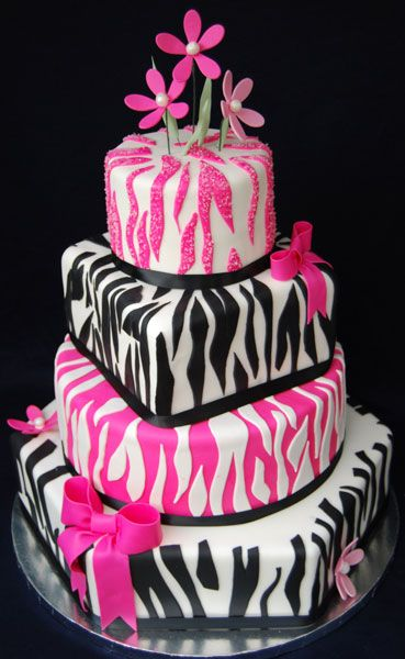 Fun and fabulous pink, black and white zebra cake by Wedding Cake Connection.  #Zebra #cakes