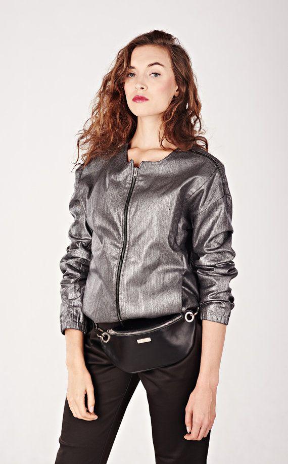 Leather bum bag, fanny pack, hip bag, black leather fanny pack