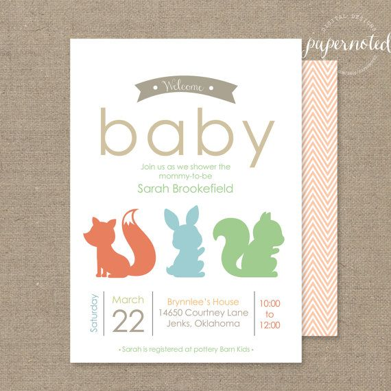 woodland baby shower invitation simple baby shower invitaiton