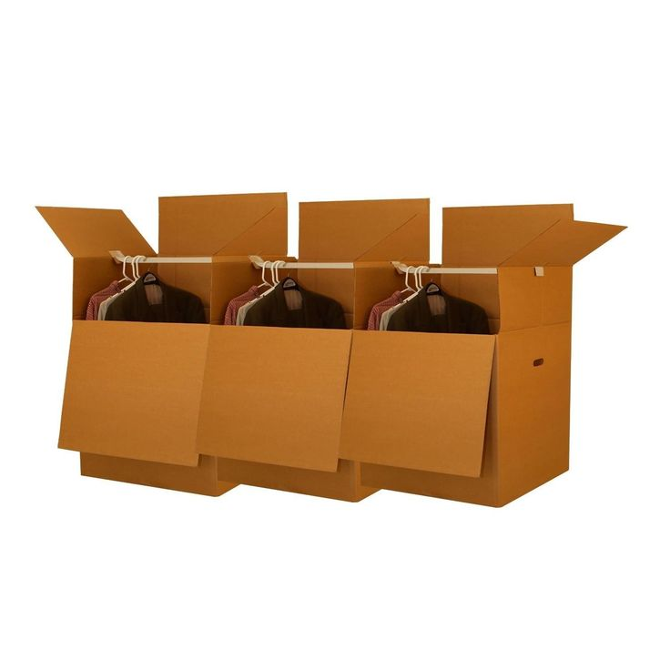 """Shorty Space Saving Wardrobe Moving Boxes (Bundle of 3) 20"""" x 20"""" x 34"""" Moving Boxes. Pack your shirts, sweaters, and jackets in these short wardrobe boxes."""