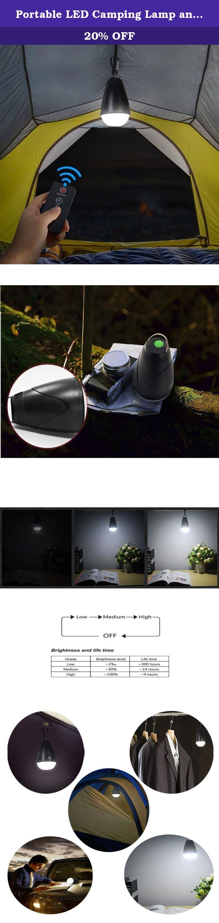 Portable LED Camping Lamp and Remote Controller Waterproof Outdoor Tent Lantern ,Black. This portable LED camping lamp easy to use and charge. The overall device is small and compact. Thus, it is very easy to operate it in urgent situations.Turn off the lights and there are two kinds of patterns:Hold down the power button for 2-3 seconds or the wireless remote control function..When the indicator keeps flashing 3times every 2seconds means need charging immediately.The indicator will keep...