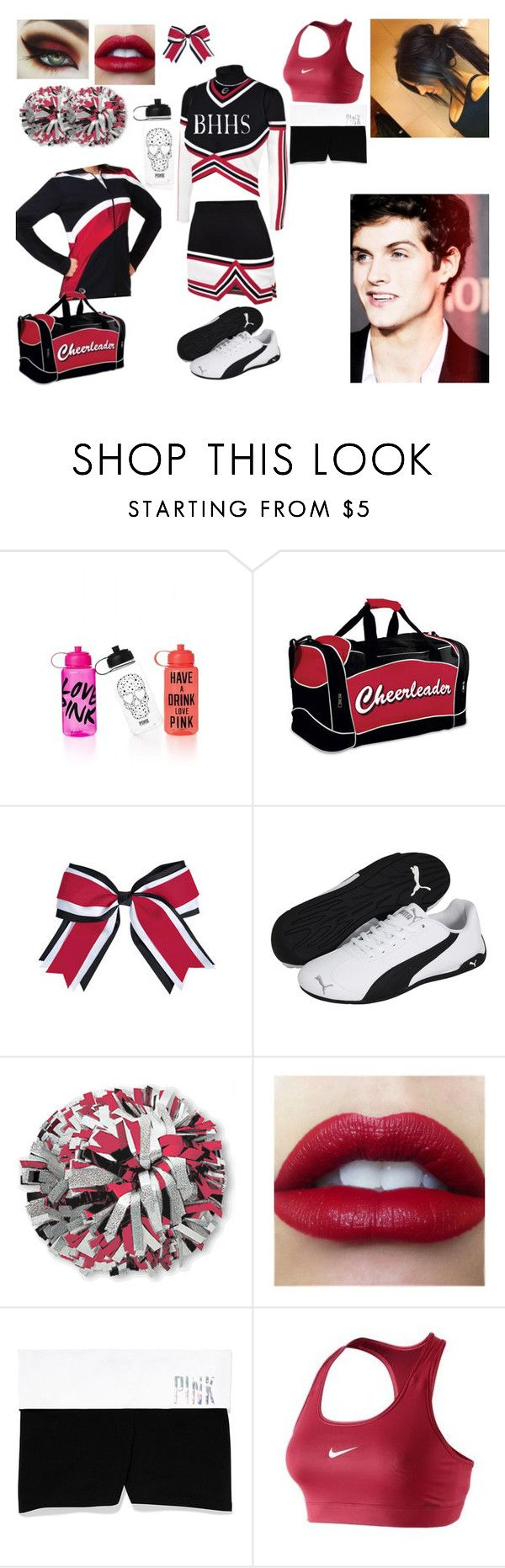 """Beacon Hills High School Cheer Uniform"" by bvbarmy-sgtc ❤ liked on Polyvore featuring Victoria's Secret, Puma and NIKE"