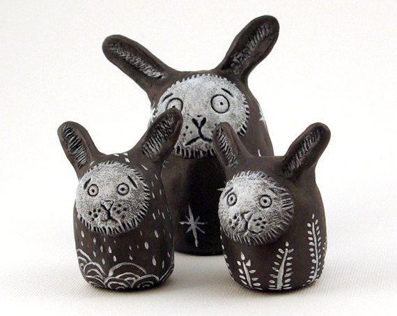 Clay Bunnies Grey Paperclay