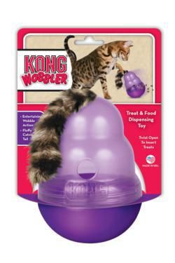 The KONG Cat Wobbler provides beneficial mental and physical stimulation for the household cat. With its entertaining wobble action, the KONG Cat Wobbler makes playtime fun and rewarding by dispensing small treats. Fill with a handful of treats or use as a feeder by filling up to half a cup of dry food. The catnip tail entices play and excitement to this unique cat food dispenser. Simple twist off top for easy filling and cleaning.