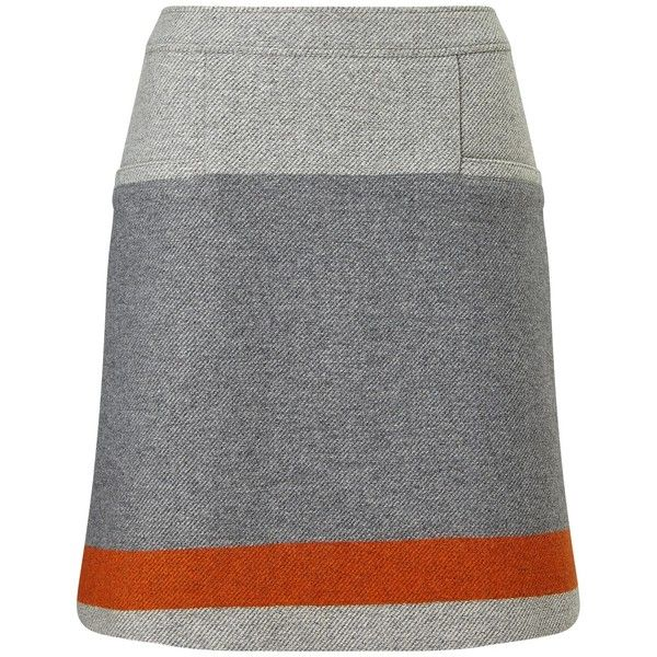 BOSS Orange Bastra Stripe Detail Skirt, Grey (€160) ❤ liked on Polyvore featuring skirts, striped a line skirt, print skirt, a line patterned skirt, reversible skirt and striped skirts