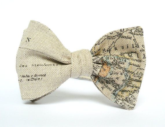 Bow Tie for Men by BartekDesign: self tie beige map traveler globetrotter gift for him wedding informal
