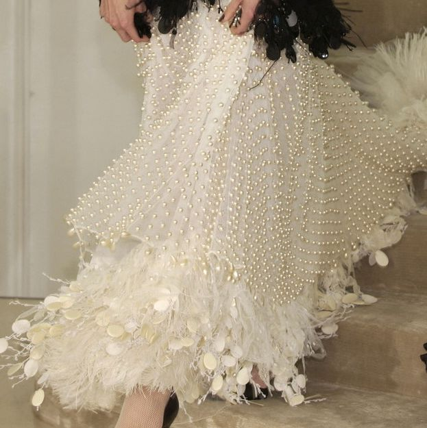Chanel feathers & pearls