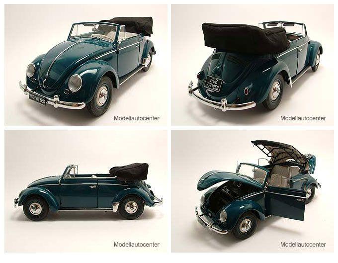 1:12    VW Käfer Cabrio 1958 atlas blau, Modellauto 1:12 / Sun Star