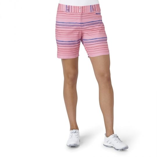"""Pink Adidas Ladies 7"""" Printed Painted Stripe Golf Shorts now at one of the top shops for ladies golf apparel #lorisgolfshoppe"""