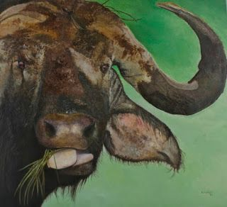 "Buffalo muddy. Acrylic on textured table. A ""Titan "" as the African buffalo just out of a real mud bath is fantastic for a paint textures animal. By Alfonso Jaraiz."