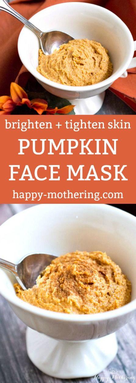DIY Pumpkin Face Mask to Brighten + Tighten Skin #skincare #naturalskin #pumpkin