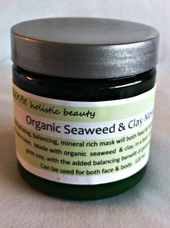 Bloom holistic beauty ORGANIC SEAWEED & CLAY MASK.  Hydrate, feed, & detox you skin all at the same time!  Great hand & foot mask as well.