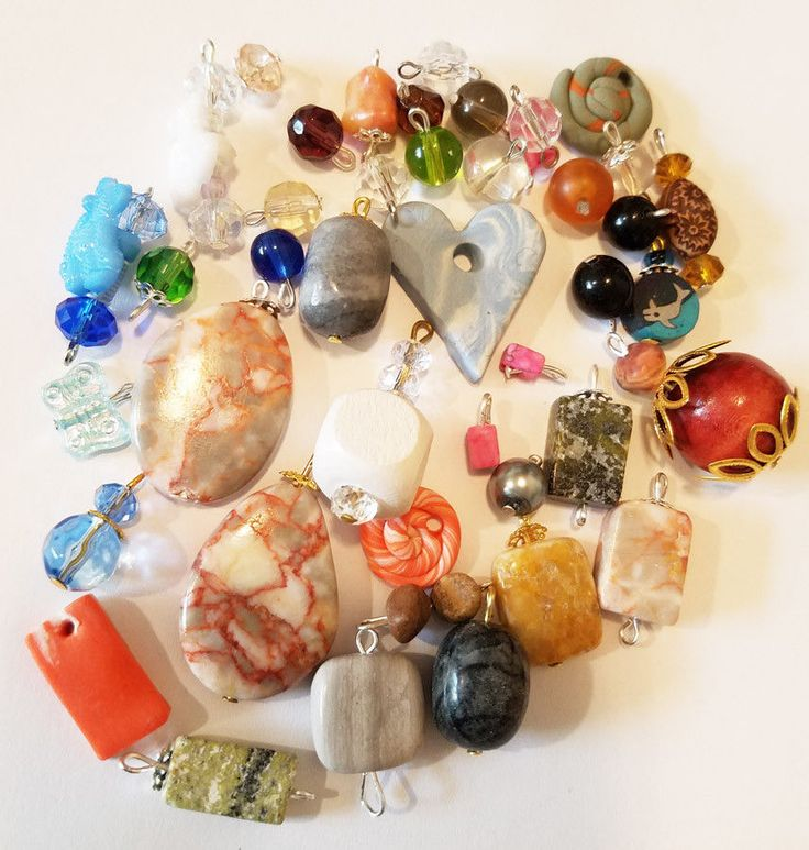 43 bead drop charms pendants lot marble plastic glass wood beads jewelry supply #ElizavellaDesigns