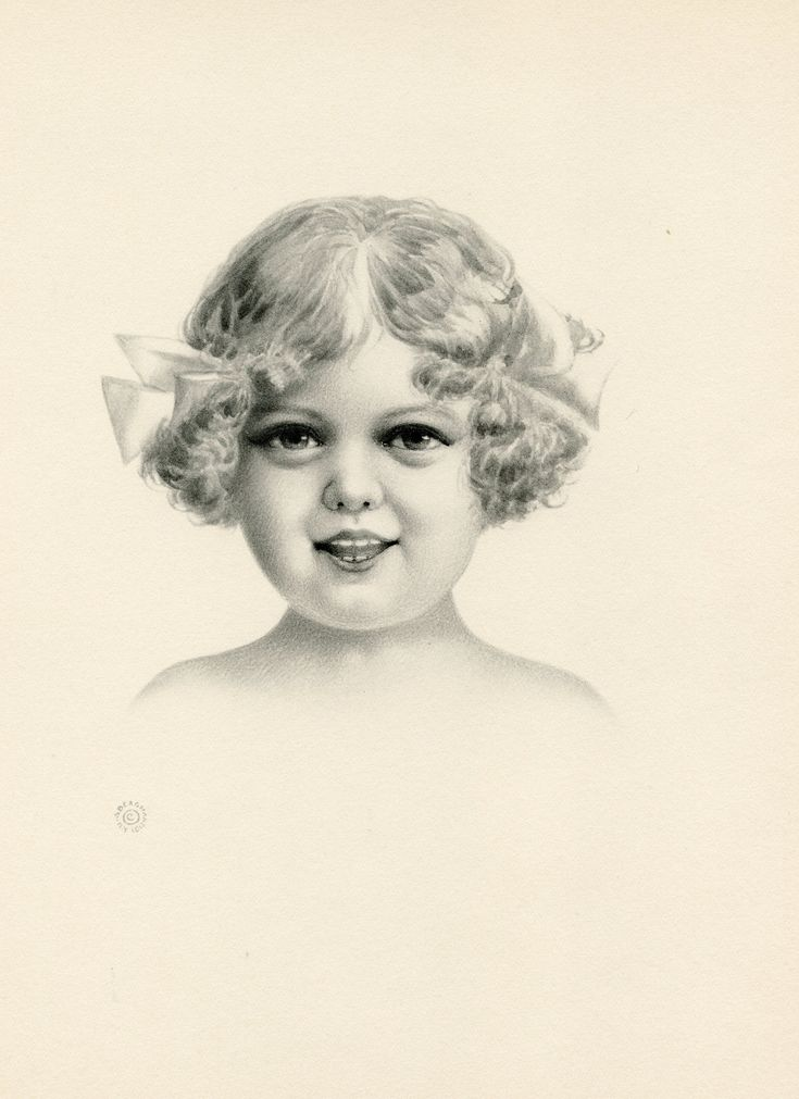 Vintage Pencil Portrait of Happy Girl Image