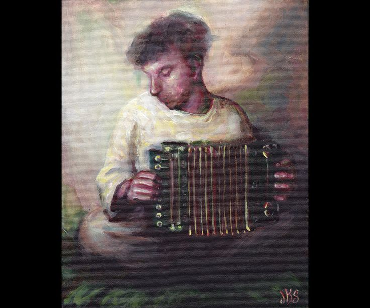 The Accordion Player, Original Painting, Music, Musician, Portrait, Man, Smoky, Impressionistic, Dreamy, Colorful, Musical Instrument, by mygoodbabushka on Etsy