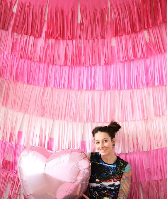 Super-dee-duper adorable pink fringe goodness for valentines day or weddings - backdrop curtain available in custom colors to match your event! Great as