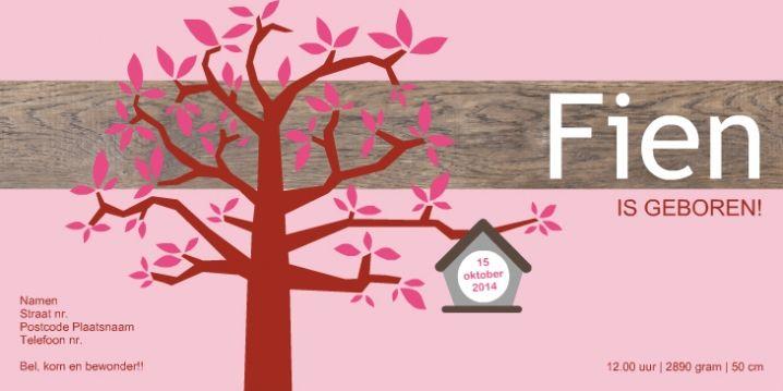 Geboortekaartje boom hout roze uil