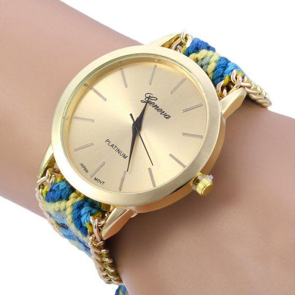 Unique Multicolor Fabric Band Watch