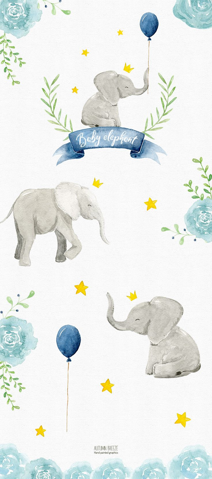 Watercolor Baby Elephant Clipart Watercolor Clipart Watercolor