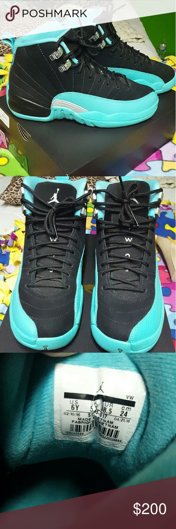 Jordan retro 12s Hyper Jade Size 6 in girls but they fit big. Look brand new, literally wore then 3 times. Jordan Shoes Sneakers