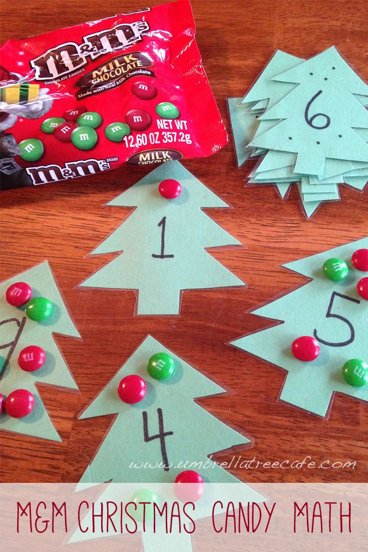 Educational activity to do some Christmas Candy Math with M&Ms