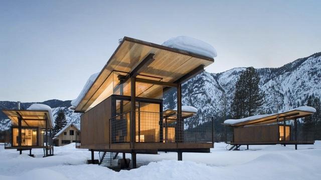 Modern rolling huts, Olson Kundig Architects, Washington's Methow Valley