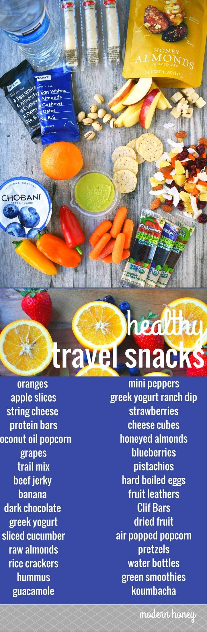 Healthy Travel Snacks. A list of healthy food for your next road trip. www.moder…