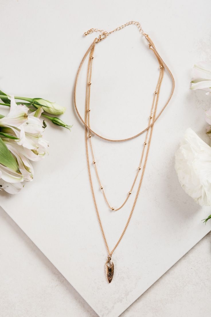 - Description - Details - Keep it trendy in the Gold Choker Necklace! A 3 tier choker necklace, perfect for all your summer boho apparel! - Gold thread - Lobster clasp closure - Man made materials - I