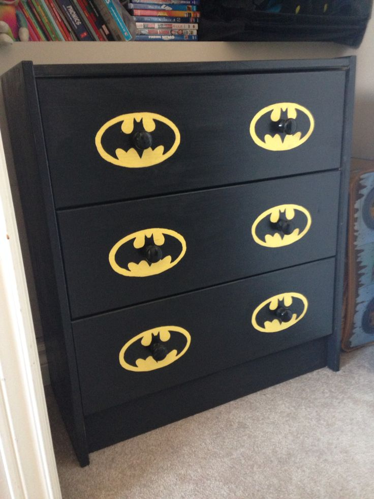 Simply Ikea Wood Dresser Painted With Batman Outline   Son Loves It !