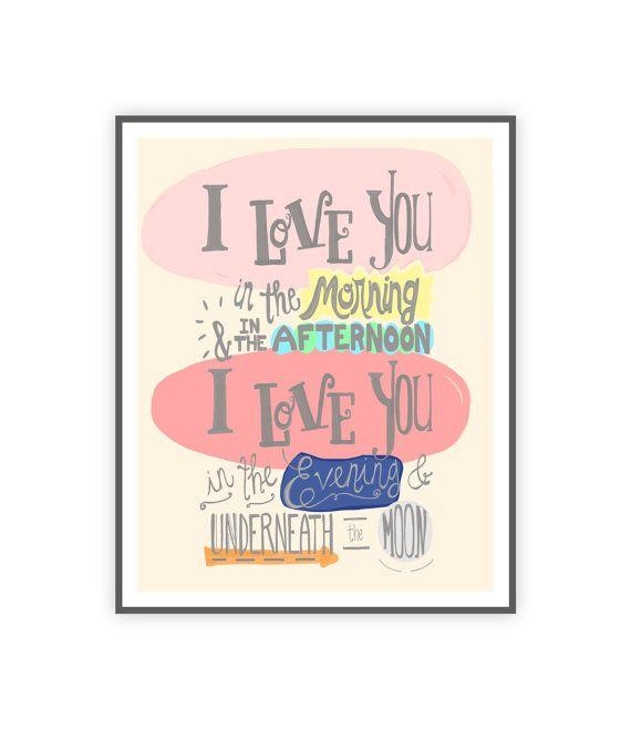 Amore si stampa, citazione del vivaio, preventivo con lettere a mano per arredamento camera bambino, bambino ragazza parete arte 8x10 arte stampare, arte lirica di canzone per bambini