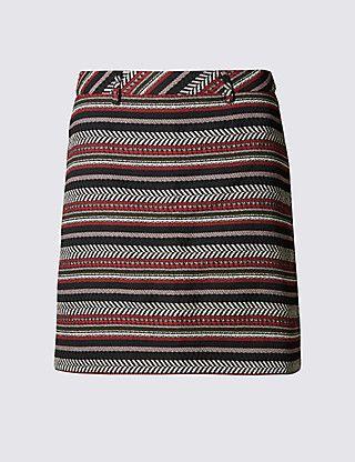 Textured Midi Skirt   M&S