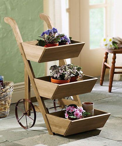 Wheeled Wooden Flower Cart Plant Display Planter
