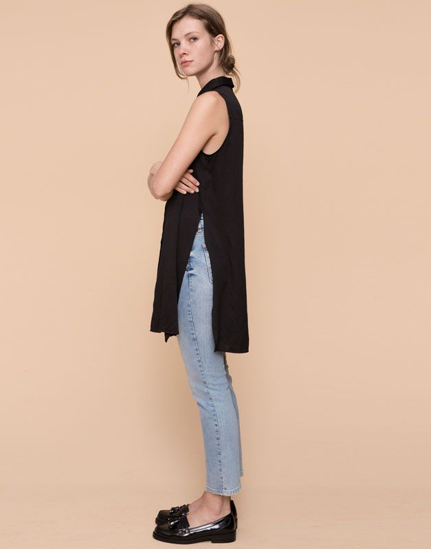 Pull&Bear - femme - blouses et chemises - chemise longue emmanchures américaines - noir - 09471353-I2015