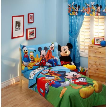 Disney Mickey Mouse Playground Pals 4-Piece Toddler Bedding Set, Our son's will be in this week! He promised to sleep in his own bed if we got him mickey bedding. But we will see. :)
